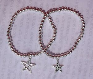 HANDMADE SILVER PLATED STACKING BEAD STRETCH BRACELET WITH STAR CHARM (019)