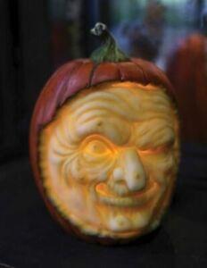 "NIB 7.5"" Carved Witch face Jack O Lantern Light up HALLOWEEN Display Prop Decor"