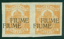 FIUME : 1918-19. NEWSPAPER STAMPS. Sass #1b Beautiful VF MOG pair w/ Double Ovpt