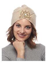 Zhanna Knit Winter Hat With Rhinestone Details Beige Turban