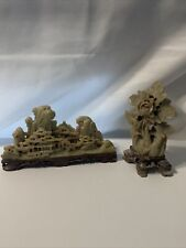 New listing 2 Vintage Chinese Soapstone, Village And Flower Carving. Sold As Set