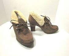 Audrey Brooke Tan Leather Oxford Ankle Boots Booties Size 8 M