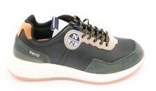 North Sails RW/02 sneakers pelle nera-camoscio verde militare  0-1