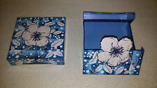"New 2 Pcs Gift Box Wrap. Blue & White 5.6"" x 5.6"" x 1.4"" Open from both sides"