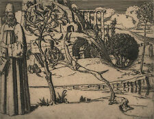 CYRIL GOLDIE signed etching c1920s 'Man in Arcadian Landscape'