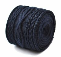 Frederick Thomas Knitted Silk Mens Tie - Dark Navy Blue - Cable Knit Skinny