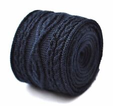 Frederick Thomas navy blue cable knitted wool tie FT2009 RRP£20
