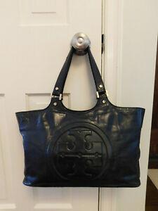 Tory Burch Black Shoulder Bag Leather Double Handle Pockets Bombe Handbag Tote