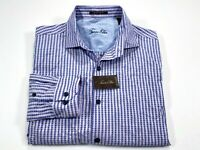 Tasso Elba M Lavender Purple Supima Cotton Button Front Long Sleeve Shirt NEW
