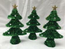 3 x Tinsel Christmas Tree Christmas Table Decorations Green
