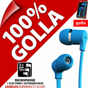 Golla Earbuds Superduct Blue Earbud In-Ear Headphones for MP3 iPod iPhone 5S 6S