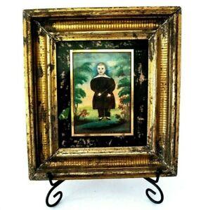 Antique American Folk Art Child Portrait Painting Signed James Sanford Ellsworth