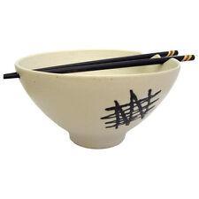 Fatto a mano giapponese / cinese in ceramica stoneware Noodle Bowl con Chopsticks-Bianco