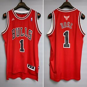 Adidas NBA Derrick ROSE #1 CHICAGO BULLS Red Basketball Jersey Size L Large