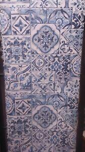 Reclaimed, Blue, Marrakesh Tile Wallpaper