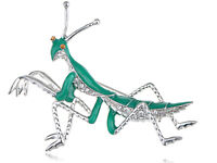 Clear Rhinestone Silver Mantis Insect Grasshopper Green Enamel Pin Brooch Gifts