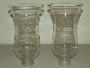 Antique 1800's Pair Etched Bands Hand Blown Hurricane Candle Lamp Chimney Shades