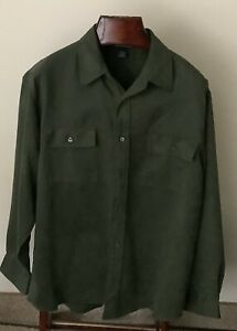 Knightsbridge Men's Green Long-Sleeved Button-Down Faux Suede Shirt Size L