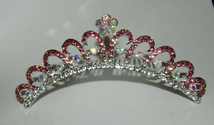 "Flower Headpiece Comb Pink New Crown Tiara Crystals Silver 5"" Long Hair Decor AB"