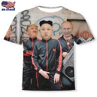 Funny 3D Print Putin Donald Trump And Kim Jong Un Short Sleeve Casual T-Shirt US