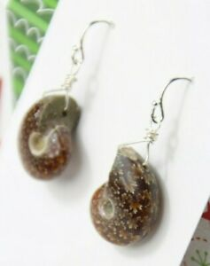 Ammonite Fossil Snail Gemstone Earrings .925 Sterling Silver Wire Wrap 1 1/2""