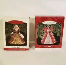 Holiday Barbie #4 1996 and #5 1997 Collectors Series Hallmark Keepsake Ornaments