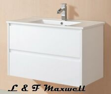 Bathroom Wall Hung Vanity with Ceramic Basin and Soft Closing Drawer 750mm
