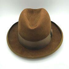 Vintage Stetson Brown Fedora Hat Royal De Luxe St. Regis Size 7 3/8 1950s