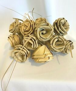 Gullah Palm Frond Low Country Bouquet Handmade Rose Flower Rare - Lot of 12