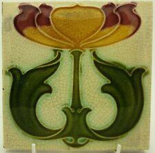 Art Nouveau Embossed Majolica Tile Tulip Design C1905 Corn Bros #1
