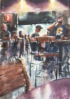 """Original Watercolor Painting Sports Bar One-of-a-kind 7.1/2"""" X 10.1/2""""  Art"""
