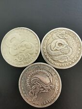 Hobo Nickel Münze Morgan Dollar Set Typ Alien / 2x Skull And Snake