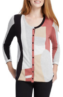 Nic + Zoe Women's Sz XS Come Together Button Front Cardigan Sweater 3/4 Sleeve
