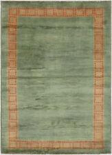 4X6 Hand-Knotted Gabbeh Carpet Modern Green Fine Wool Area Rug C0806
