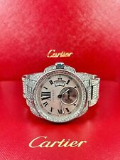 Cartier de calibre para hombres Reloj de acero 42mm Iced diamantes genuinos 13ct ref 3389