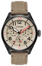 Citizen Eco Drive Men's Ivory Dial Khaki Cordura Strap 43mm Watch BU2055-08X