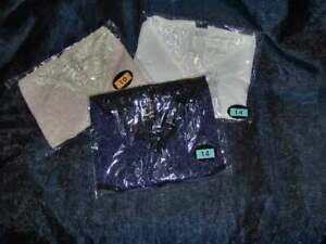 3 PAIRS LADIES SHORTS WITH PRETTY LACE FRONT  - SIZES 10 - 20 WHITE - NAVY - NUD