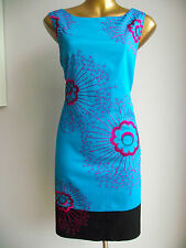MONSOON PEACOCK BLUE CERISE PINK BLACK BEADED EMBROIDERED FLORAL SHIFT DRESS 14