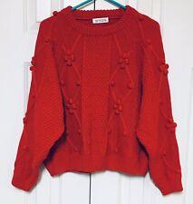 WYQN Fashion Sweater Solid Red Cable Knit Pom Pom Dolman Sleeve Medium
