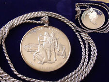 """1990 CANADA SILVER DOLLAR COIN Pendant  28"""" Italy .925 Silver Rope Chain. 36mm"""
