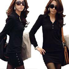 Long Sleeve Ladies Stretchy Office Career Unbranded Shirt OL Dress UK Sz 6-14 Black 8