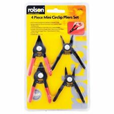 Rolson Mini Circlip Pliers Set 4 Pieces Straight Internal External Sprung Loaded