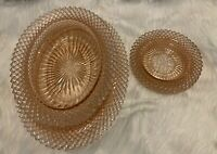 Antique/VTG Set of Pink Depression Glass Dish/Bowl And Small plates!