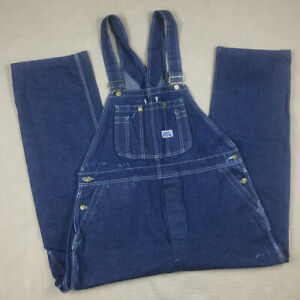 Vintage Men's Big Smith 41x29 Denim Blue Jean Button Fly Bib Overalls USA Made