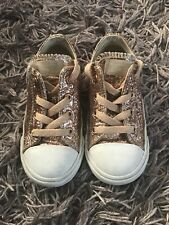 Converse Girls Rose Gold Glitter Trainers Size 8 Uk Infant Vgc