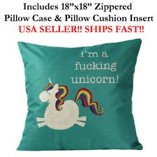 "18x18 18"" I'M A F-CKING F'N F*CKING UNICORN Zipper Throw Pillow Case & Cushion"