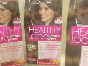 3 X L'Oreal Healthy Look Gloss Hair Color 6G Light Golden Brown Golden Praline