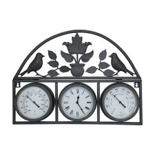 More details for charles bentley shabby chic dark grey wall clock with thermometer & hygrometer