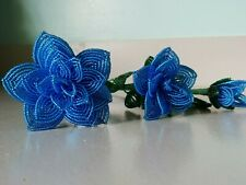 New 3 handmade French beaded Flowers rose Large medium small bright blue roses