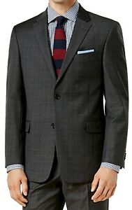 Tommy Hilfiger Mens Suit Separate Gray Size 38 Long Plaid Modern-Fit $425 #076